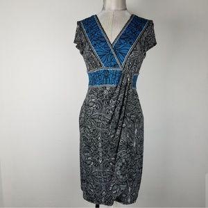 LONDON TIMES faux wrapped dress